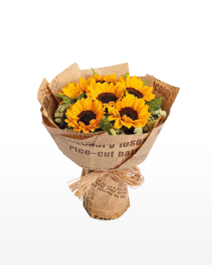 Medium bouquet of 6 sunflowers and pale-yellow 'forget-me-not' flowers wrapped in brown kraft paper