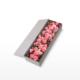 Medium box arrangement of pink roses, lisianthus and dianthus 'sugar plum' flowers presented in an elegant gift box
