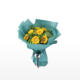 Medium bouquet of 9 sunflowers interspersed with button poms and eucalyptus leaves wrapped in quality matte paper