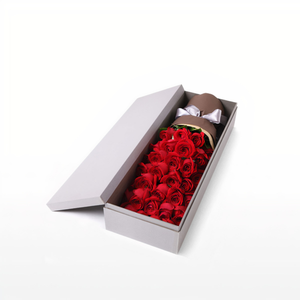 Medium bouquet of 33 premium red roses wrapped in quality matte paper and presented in an elegant gift box
