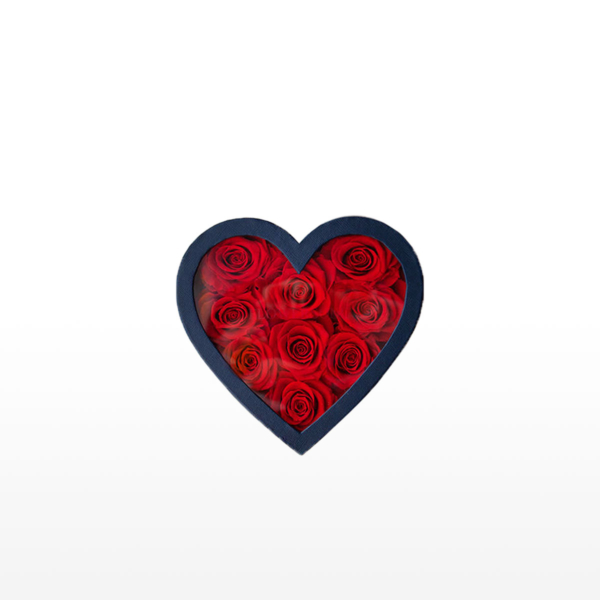 Medium box arrangement of 9 everlasting Ecuadorean roses presented in a heart-shaped gift box