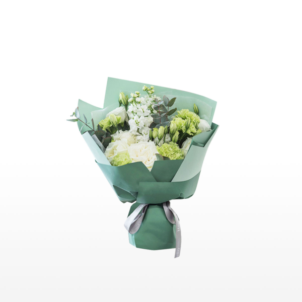 Medium bouquet of green carnations, lisianthus, violets and eucalyptus wrapped in quality matte paper