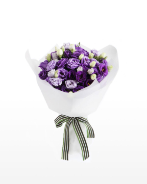 Medium bouquet of 10 purple eustoma stems wrapped in quality matte paper