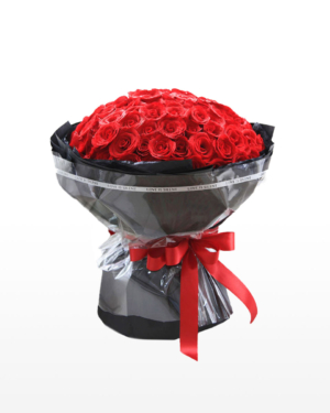 Large bouquet of 99 premium red roses wrapped in quality matte paper