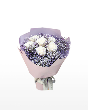 Medium bouquet of 6 white roses and purple-dyed baby's breath flowers, wrapped in quality matte paper