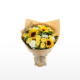 Medium bouquet of sunflowers, roses, daisies, dianthus and gardenia leaves wrapped in brown kraft paper
