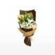 Medium bouquet of 6 white lilies and foliage accents wrapped in quality matte paper